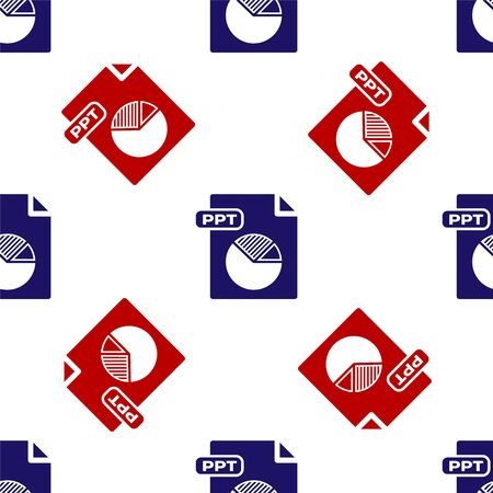 Blue and red PPT file document. Download ppt button icon isolated seamless pattern on white background. PPT file presentation. Vector Illustration Illustration