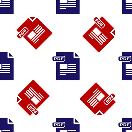 Blue and red PDF file document. Download pdf button icon isolated seamless pattern on white background. PDF file symbol. Vector Illustration