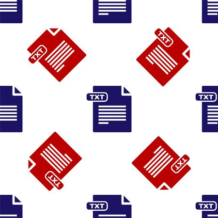 Blue and red TXT file document. Download txt button icon isolated seamless pattern on white background. Text file extension symbol. Vector Illustration