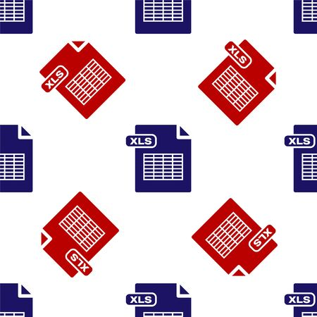 Blue and red XLS file document. Download xls button icon isolated seamless pattern on white background. Excel file symbol. Vector Illustration