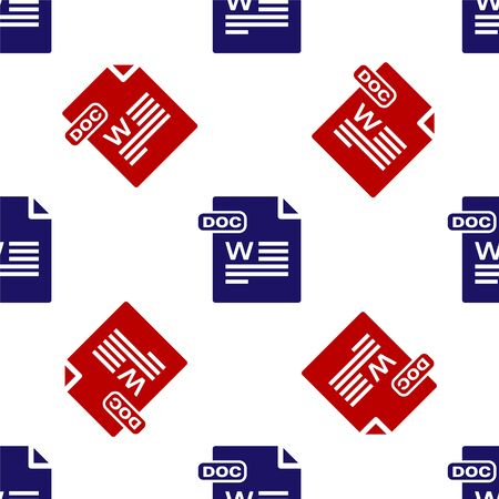 Blue and red DOC file document. Download doc button icon isolated seamless pattern on white background. DOC file extension symbol. Vector Illustration