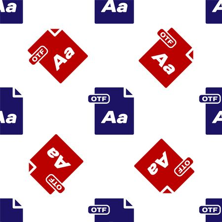 Blue and red OTF file document. Download otf button icon isolated seamless pattern on white background. OTF file symbol. Vector Illustration
