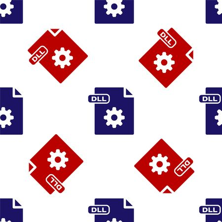 Blue and red DLL file document. Download dll button icon isolated seamless pattern on white background. DLL file symbol. Vector Illustration Illustration