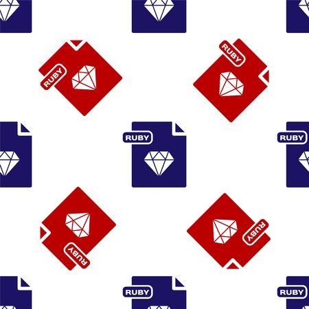 Blue and red RUBY file document. Download ruby button icon isolated seamless pattern on white background. RUBY file symbol. Vector Illustration