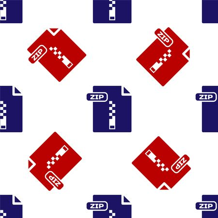 Blue and red ZIP file document. Download zip button icon isolated seamless pattern on white background. ZIP file symbol. Vector Illustration Illustration