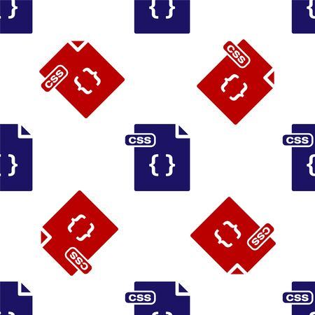 Blue and red CSS file document. Download css button icon isolated seamless pattern on white background. CSS file symbol. Vector Illustration