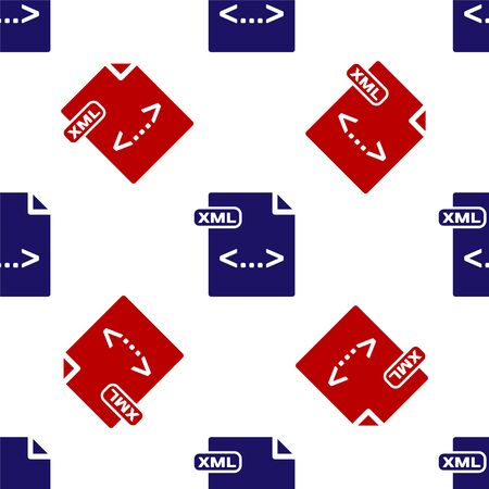 Blue and red XML file document. Download xml button icon isolated seamless pattern on white background. XML file symbol. Vector Illustration Stock Vector - 135495853