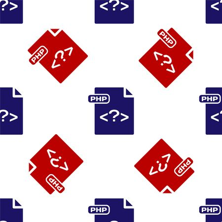 Blue and red PHP file document. Download php button icon isolated seamless pattern on white background. PHP file symbol. Vector Illustration