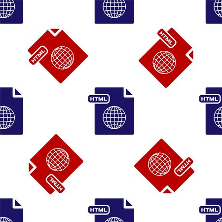 Blue and red HTML file document. Download html button icon isolated seamless pattern on white background. HTML file symbol. Markup language symbol. Vector Illustration