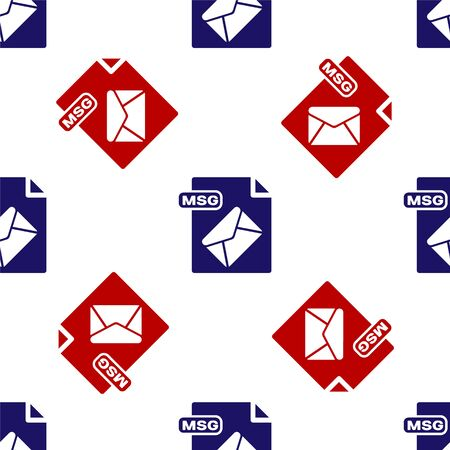 Blue and red MSG file document. Download msg button icon isolated seamless pattern on white background. MSG file symbol. Vector Illustration Stock Vector - 135495859