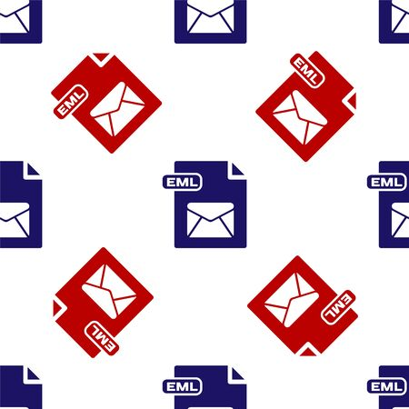 Blue and red EML file document. Download eml button icon isolated seamless pattern on white background. EML file symbol. Vector Illustration