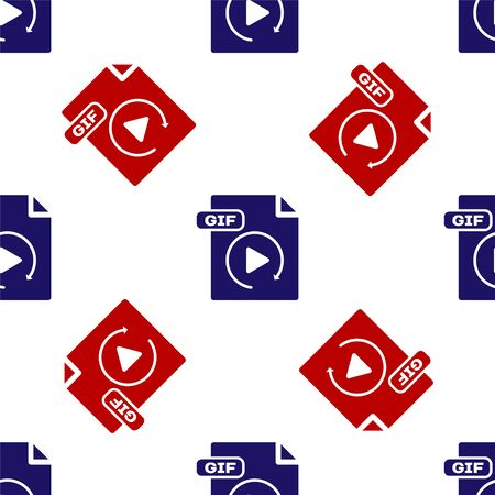 Blue and red GIF file document. Download gif button icon isolated seamless pattern on white background. GIF file symbol. Vector Illustration Reklamní fotografie - 135495861