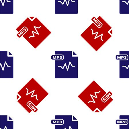 Blue and red MP3 file document. Download mp3 button icon isolated seamless pattern on white background. Mp3 music format sign. MP3 file symbol. Vector Illustration