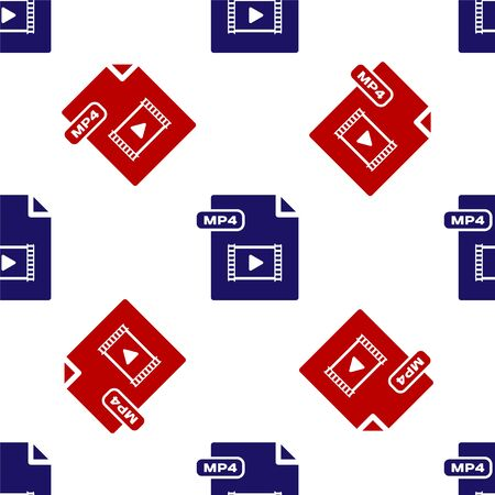 Blue and red MP4 file document. Download mp4 button icon isolated seamless pattern on white background. MP4 file symbol. Vector Illustration Stock Vector - 135495863