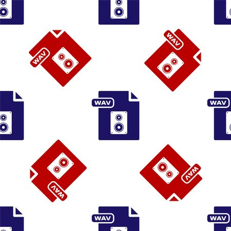 Blue and red WAV file document. Download wav button icon isolated seamless pattern on white background. WAV waveform audio file format for digital audio riff files. Vector Illustration Stock Vector - 135495866