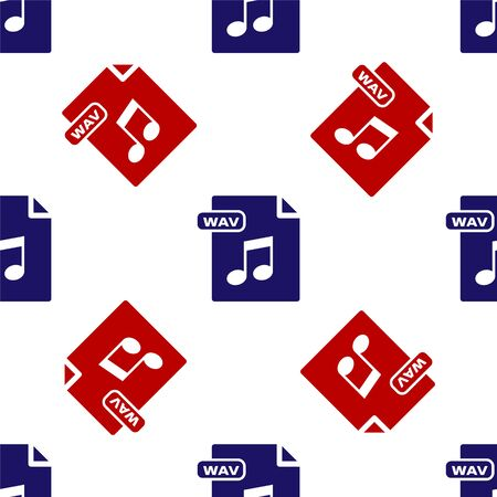 Blue and red WAV file document. Download wav button icon isolated seamless pattern on white background. WAV waveform audio file format for digital audio riff files. Vector Illustration