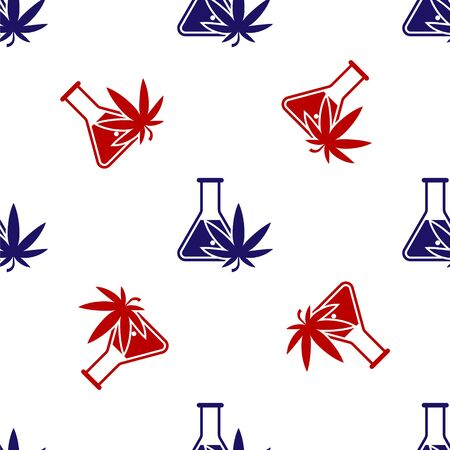 Blue and red Chemical test tube with marijuana or cannabis leaf icon isolated seamless pattern on white background. Research concept. Laboratory CBD oil concept. Vector Illustration