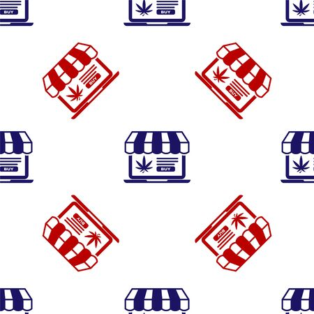 Blue and red Laptop and medical marijuana or cannabis leaf icon isolated seamless pattern on white background. Online buying symbol. Supermarket basket. Vector Illustration