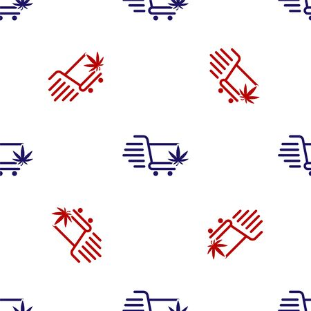 Blue and red Shopping cart with marijuana or cannabis leaf icon isolated seamless pattern on white background. Online buying. Delivery service. Supermarket basket. Vector Illustration