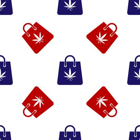 Blue and red Shopping paper bag of medical marijuana or cannabis leaf icon isolated seamless pattern on white background. Buying cannabis. Hemp symbol. Vector Illustration
