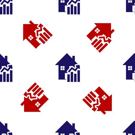 Blue and red Rising cost of housing icon isolated seamless pattern on white background. Rising price of real estate. Residential graph increases. Vector Illustration Иллюстрация