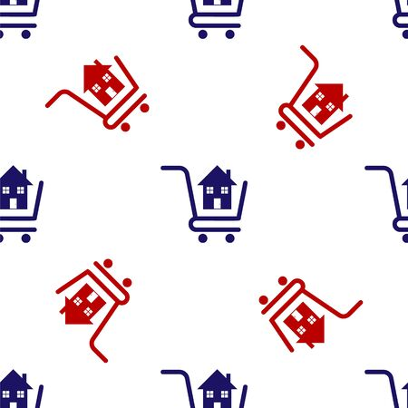 Blue and red Shopping cart with house icon isolated seamless pattern on white background. Buy house concept. Home loan concept, rent, buying a property. Vector Illustration