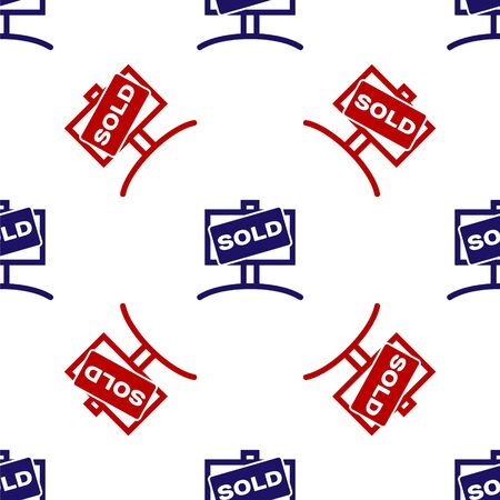 Blue and red Hanging sign with text Sold icon isolated seamless pattern on white background. Sold sticker. Sold signboard. Vector Illustration Ilustrace