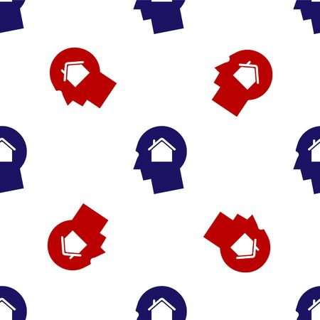 Blue and red Man dreaming about buying a new house icon isolated seamless pattern on white background. Vector Illustration 向量圖像