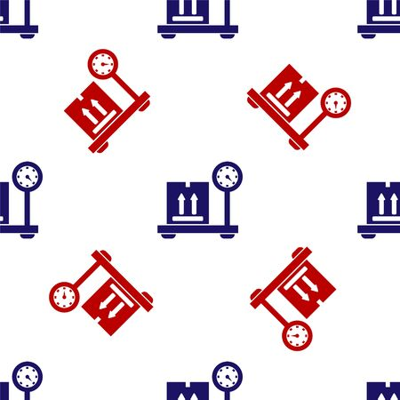 Blue and red Scale with cardboard box icon isolated seamless pattern on white background. Logistic and delivery. Weight of delivery package on a scale. Vector Illustration