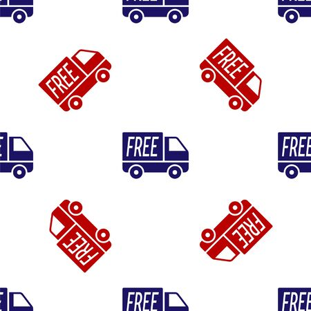 Blue and red Free delivery service icon isolated seamless pattern on white background. Free shipping. 24 hour and fast delivery. Vector Illustration
