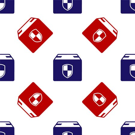 Blue and red Delivery pack security symbol with shield icon isolated seamless pattern on white background. Delivery insurance. Insured cardboard boxes beyond the shield. Vector Illustration