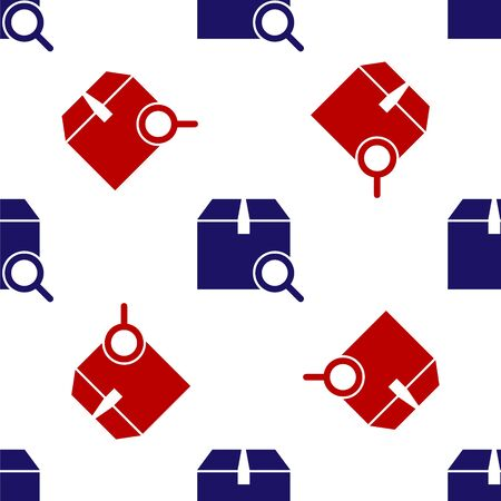 Blue and red Search package icon isolated seamless pattern on white background. Parcel tracking symbol. Magnifying glass and cardboard box. Logistic and delivery. Vector Illustration