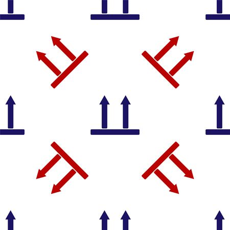 Blue and red This side up icon isolated seamless pattern on white background. Two arrows indicating top side of packaging. Cargo handled so these arrows always point up. Vector Illustration Banque d'images - 135475841