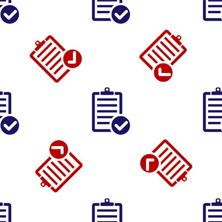 Blue and red Verification of delivery list clipboard and pen icon isolated seamless pattern on white background. Vector Illustration