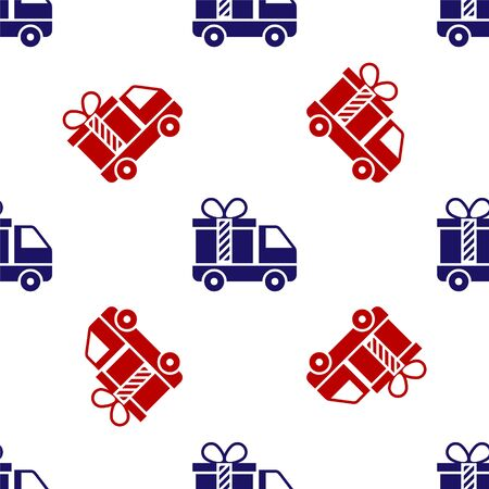 Blue and red Delivery truck with gift icon isolated seamless pattern on white background. Vector Illustration