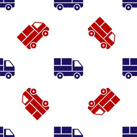 Blue and red Delivery truck with cardboard boxes behind icon isolated seamless pattern on white background. Vector Illustration Illustration