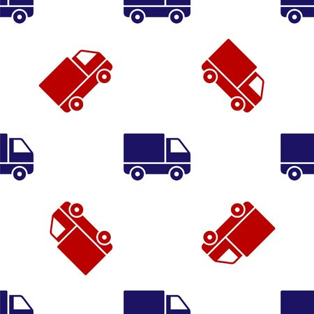 Blue and red Delivery cargo truck vehicle icon isolated seamless pattern on white background. Vector Illustration