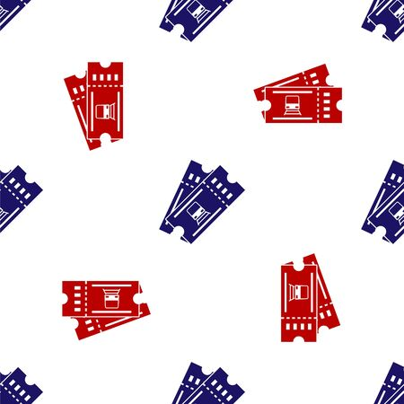 Blue and red Train ticket icon isolated seamless pattern on white background. Travel by railway. Vector Illustration