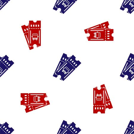 Blue and red Bus ticket icon isolated seamless pattern on white background. Public transport ticket. Vector Illustration Illustration