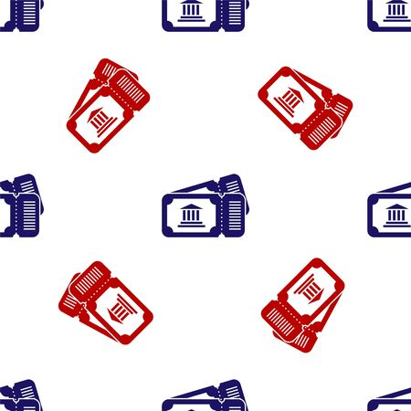 Blue and red Museum ticket icon isolated seamless pattern on white background. History museum ticket coupon event admit exhibition excursion. Vector Illustration Illusztráció