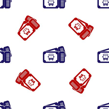 Blue and red Bus ticket icon isolated seamless pattern on white background. Public transport ticket. Vector Illustration Illusztráció