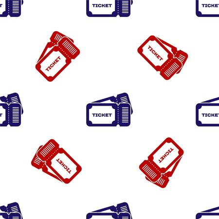 Blue and red Ticket icon isolated seamless pattern on white background. Vector Illustration