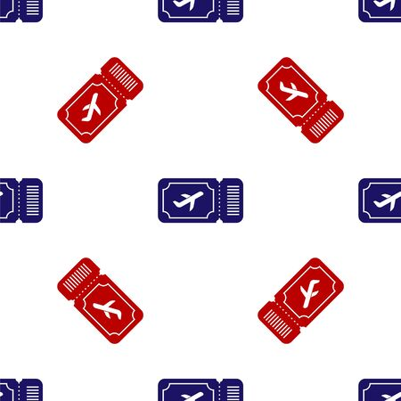 Blue and red Airline ticket icon isolated seamless pattern on white background. Plane ticket. Vector Illustration