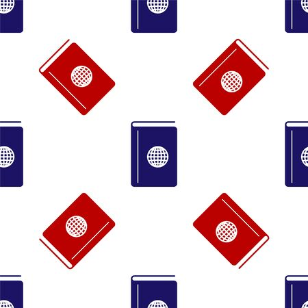 Blue and red Cover book travel guide icon isolated seamless pattern on white background. Vector Illustration
