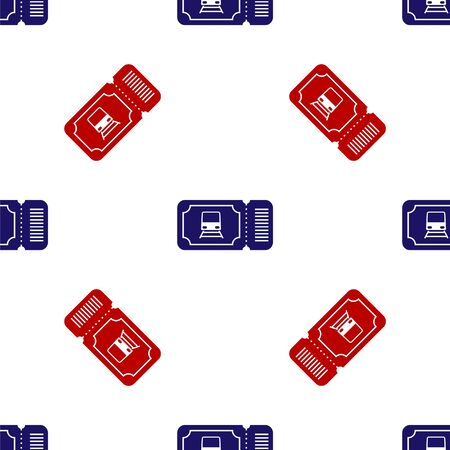 Blue and red Train ticket icon isolated seamless pattern on white background. Travel by railway. Vector Illustration Foto de archivo - 135496123