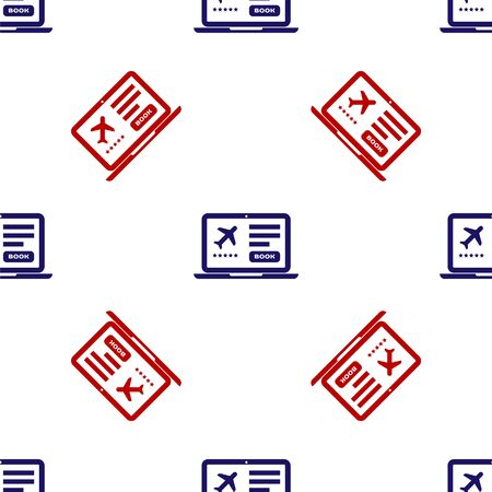 Blue and red Laptop with electronic boarding pass airline ticket icon isolated seamless pattern on white background. Passenger plane mobile ticket for web and app. Vector Illustration