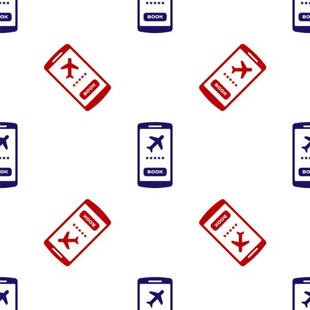 Blue and red Smartphone with electronic boarding pass airline ticket icon isolated seamless pattern on white background. Passenger plane mobile ticket for web and app. Vector Illustration Foto de archivo - 135496125