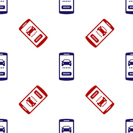 Blue and red Online car sharing icon isolated seamless pattern on white background. Online rental car service. Online booking design concept for mobile phone. Vector Illustration Illustration