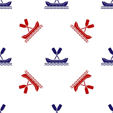 Blue and red Rafting boat icon isolated seamless pattern on white background. Kayak with paddles. Water sports, extreme sports, holiday, vacation, team building. Vector Illustration