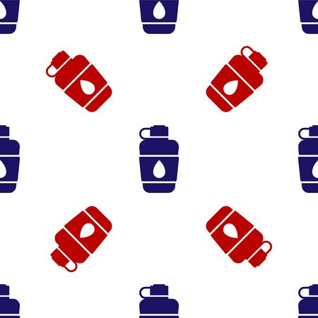 Blue and red Canteen water bottle icon isolated seamless pattern on white background. Tourist flask icon. Jar of water use in the campaign. Vector Illustration 일러스트